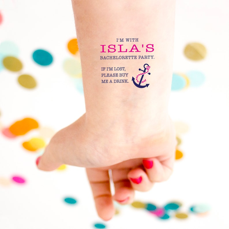 If Lost Buy Me a Drink Anchor Tattoo Nautical Themed Nautical Bachelorette Party Bachelorette Temporary Tattoos Nauti Bachelorette