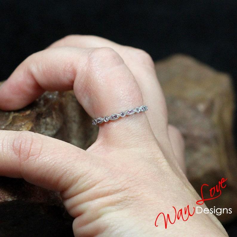 Platinum,Custom,Anniversary Pink Sapphire Milgrain Leaf Circle Bezel FULL Eternity Wedding Band 14k 18k White Yellow Rose Gold Stack Ring