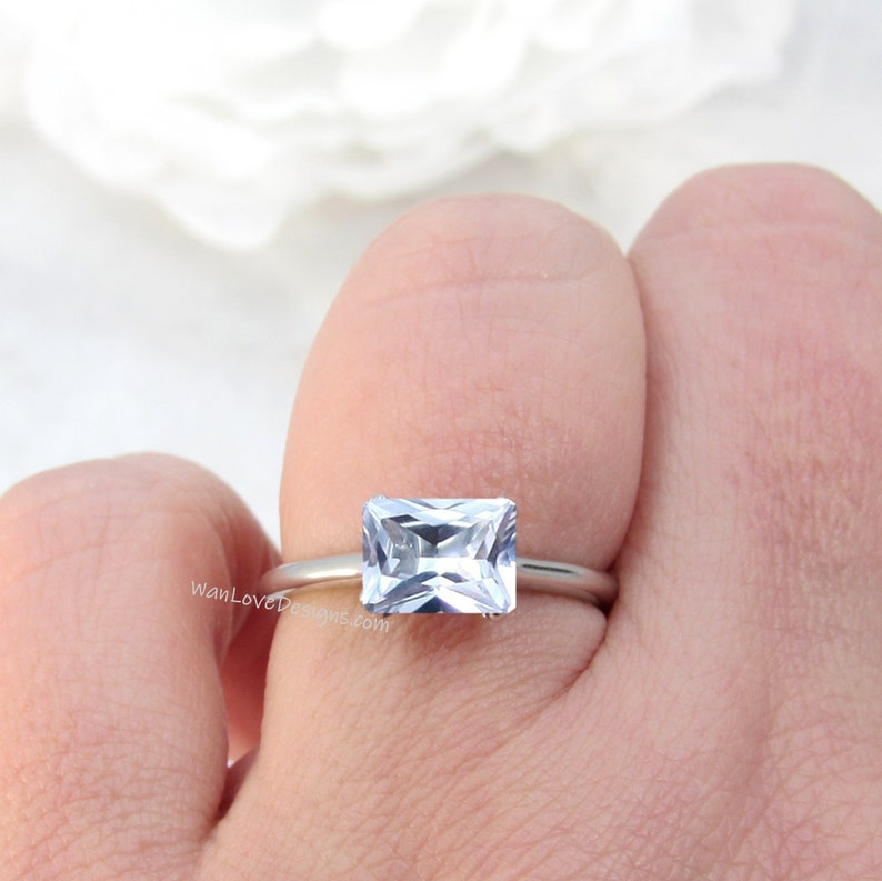 Aquamarine Spinel East West Engagement Ring,Solitaire,2ct,8x6mm,14k 18k White Yellow Rose Gold,Platinum,Custom,Weddin,Anniversary