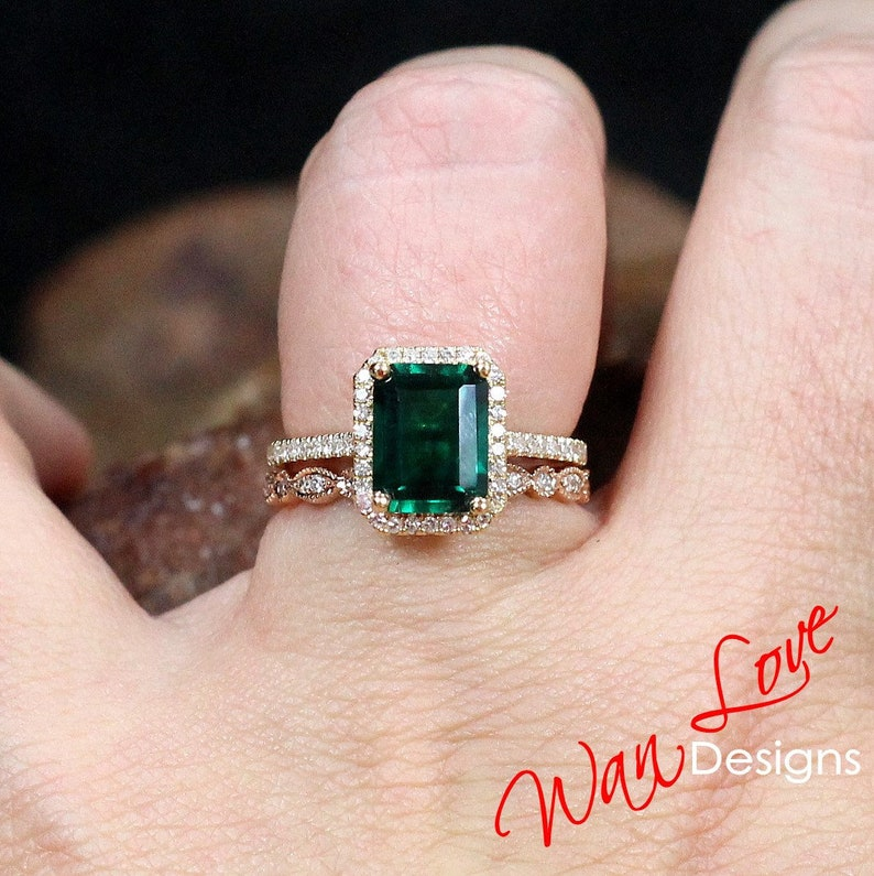 7463deabf62b33 Emerald & Diamond Halo Engagement Ring set Full Eternity | Etsy