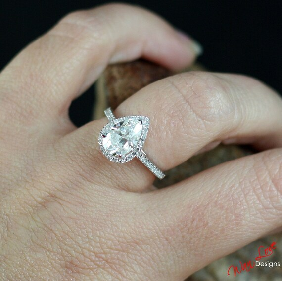 moissanite diamond pear halo engagement ring def drop. Black Bedroom Furniture Sets. Home Design Ideas