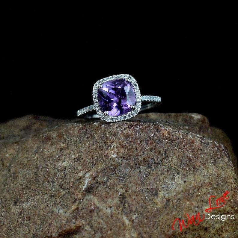 9b40052128326 Alexandrite Color Change Sapphire & Diamond Cushion Halo | Etsy