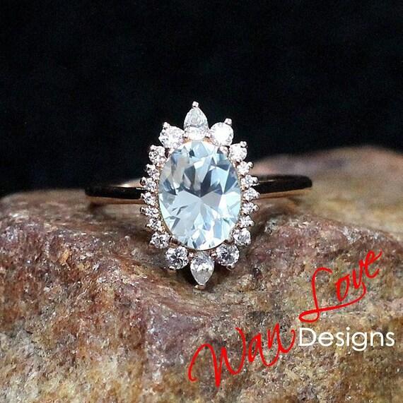 Platinum Sterling Silver Blue /& White Sapphire Vintage Design Halo Band Ring