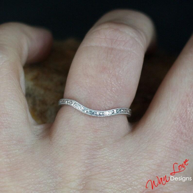 Engraved Ring Antique Filigree Milgrain Contoured Wedding Band 14k 18k White Yellow Rose Gold-Platinum-Custom-Engagement-Anniversary-Pinky