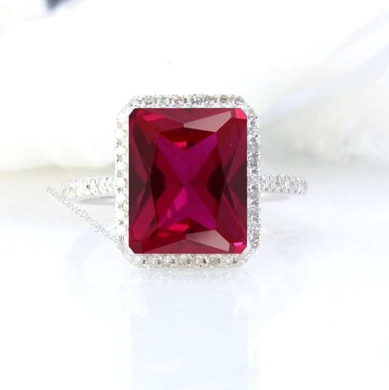 Ruby Diamonds Emerald Halo Engagement Ring Custom Wedding image 1
