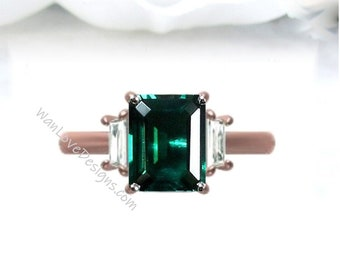 Emerald & Moissanite Emerald Trapezoid Engagement Ring, Custom, 14k 18k Gold, Platinum, Aniversary Gift, WanLoveDesigns