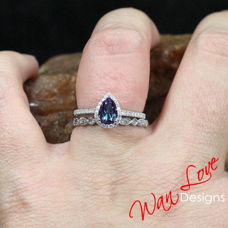 d6c9d1f7390f4 Alexandrite & Diamond Pear Halo Engagement Ring Milgrain | Etsy