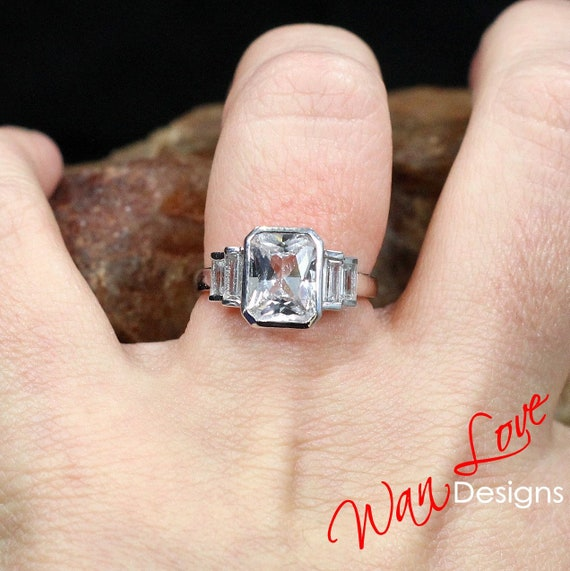 Cathedral,Solitaire,3ct-9x7mm-Custom-14k 18k White Yellow Rose gold-Platinum-Wedding-Anniversary White Sapphire Emerald cut Engagement Ring