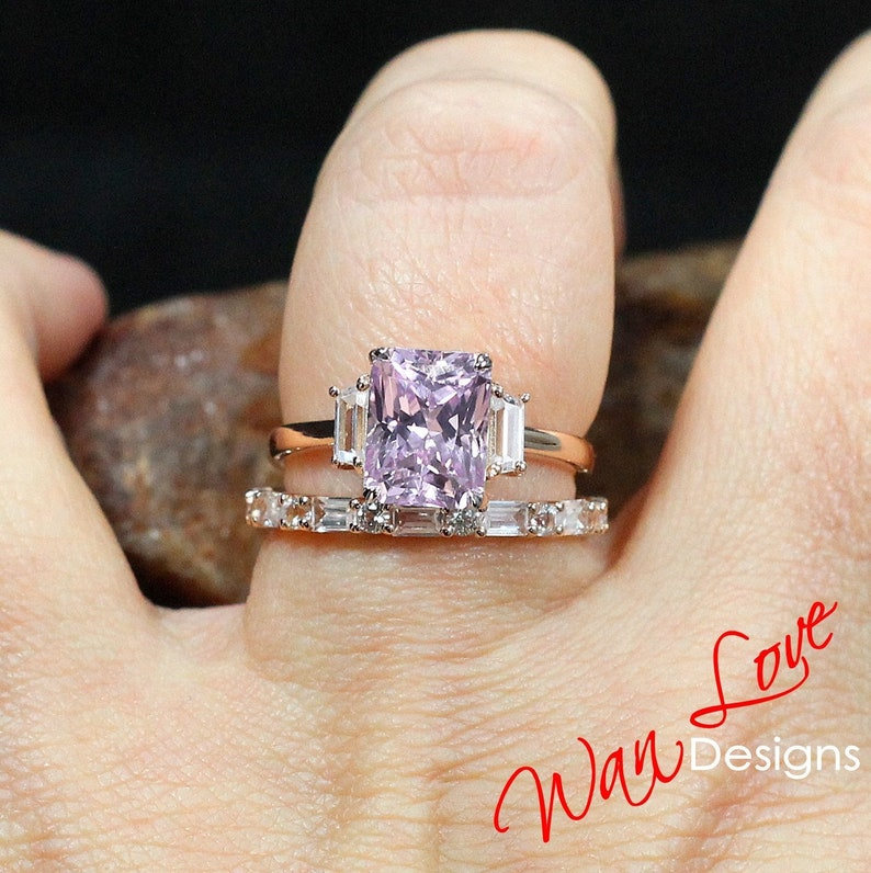 Light Pale Pink White Sapphire Emerald Trapezoid Engagement image 0
