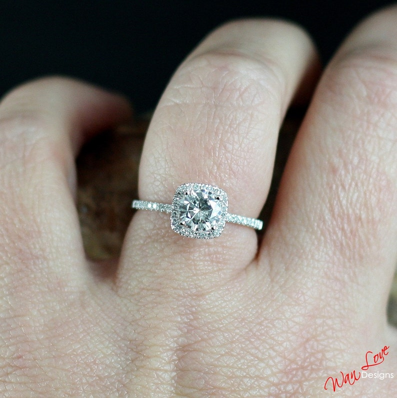 Forever One Moissanite & Diamond Halo Engagement Ring, Round,  Cushion,1ct,6mm,14k 18k White Yellow Rose Gold,Custom,Promise,Anniversary  Gift