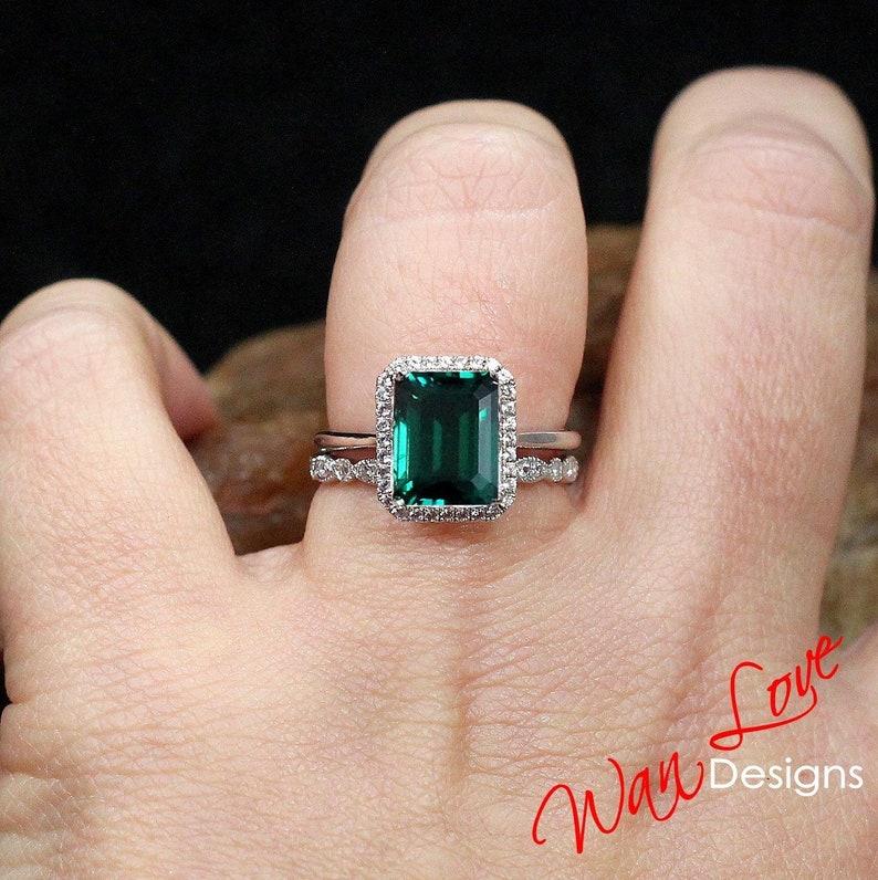 cf4c81a4c8c6fe Emerald & Diamond Halo Engagement Ring set Milgrain Leaf | Etsy