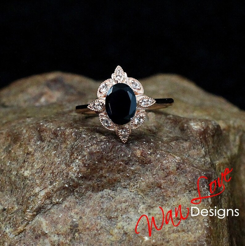 c66b556833303a Black Spinel & Diamond Oval Milgrain Halo Engagement Ring | Etsy