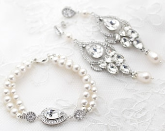 Pearl Bridal Earrings and Bracelet Set, Statement Earrings and Bracelet, Vintage Style Wedding Jewelry, Wedding Pearl Jewelry Set Crystal