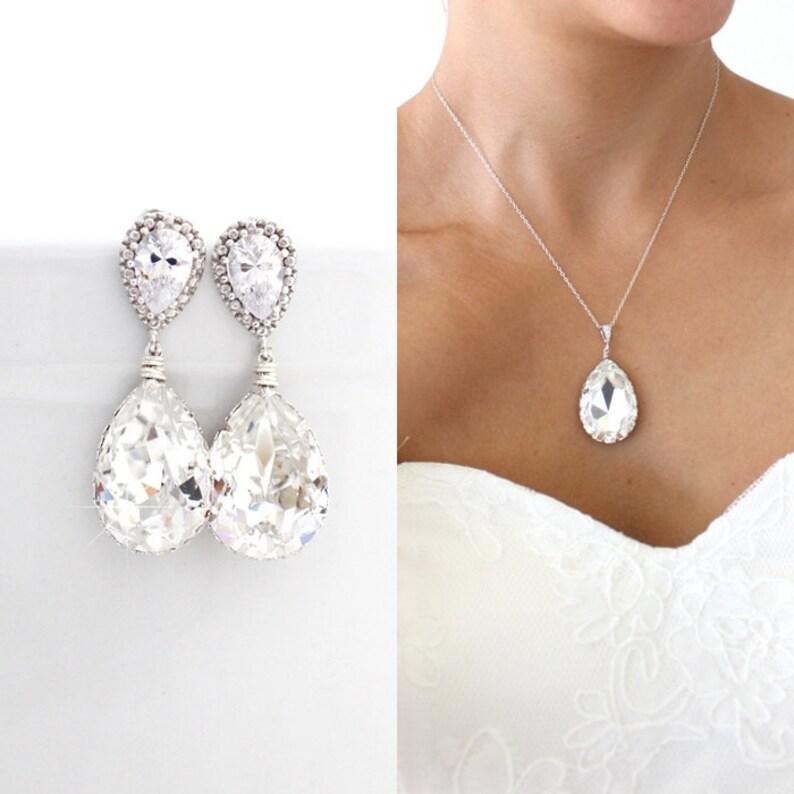 f96641b9a Clear Swarovski Bridal Jewelry Set Cubic Zirconia Wedding | Etsy