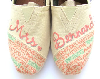 The Bernard - Mint and Coral Custom Wedding TOMS