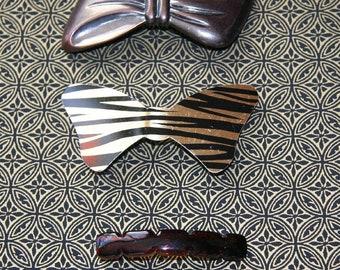 Vintage Antique Matt or Papillon Bull Chien Mâchoire Grip Pince Pince cheveux métal clip