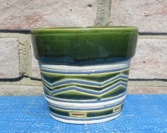 Vintage Flower Pot - Ceramic Plant Pot, Green, Blue and White, Zig Zag Design