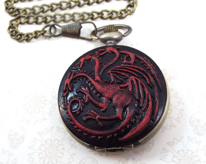 Targaryen Dragon Sigil Quartz Pocket Watch - Fire & Blood - Neo-Victorian Steampunk
