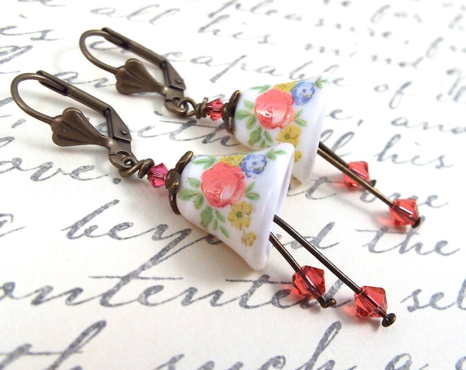 Porcelain Coral Bell Flower Earrings - Split Personality Designs