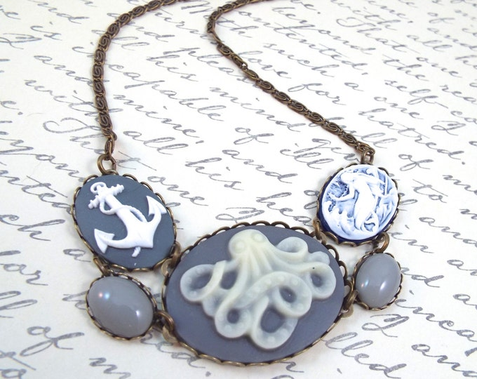 Nautical Octopus Cameo Necklace- Mermaid & Anchor Bib - Modern Vintage by SPDJewelry