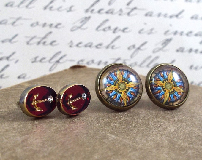 Compass Nautical Anchor Earring Set - Petite Pieuvre - Nautical Jewelry