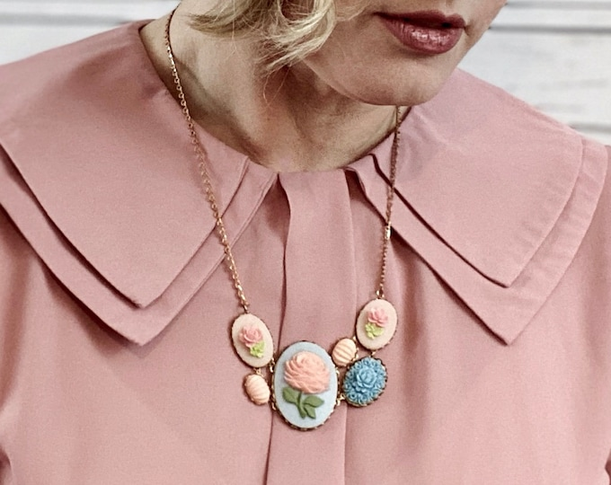 Rose Flower Cameo Necklace- Angel Skin Pink Peach & Blue Bib