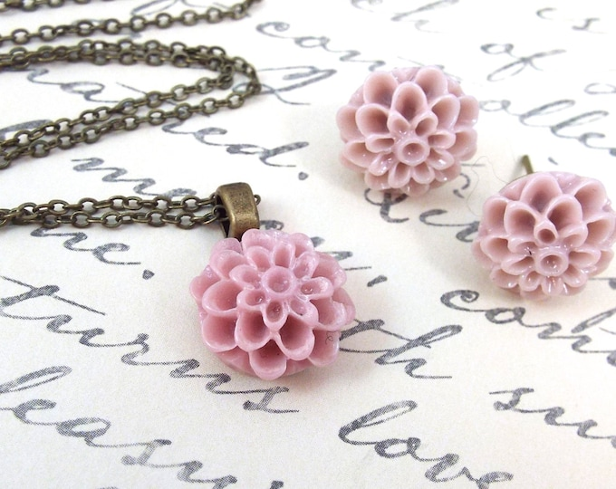 CUSTOM Dahlia Bridemaids Flower Girl Pendant Earrings - Vintage Inspired Wedding Jewelry
