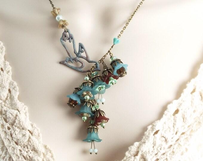 Mint Teal Trumpet Flower Lariat Statement Necklace - Secret Garden