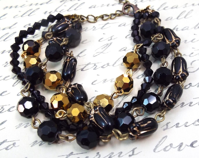 Victorian Black Bronze Beaded Bracelet - Vintage Art Nouveau Jewelry