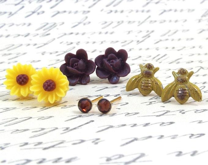 Brown Eyed Susan Bee Earrings Jewelry Gift Set - Émilie - Split Personality Designs