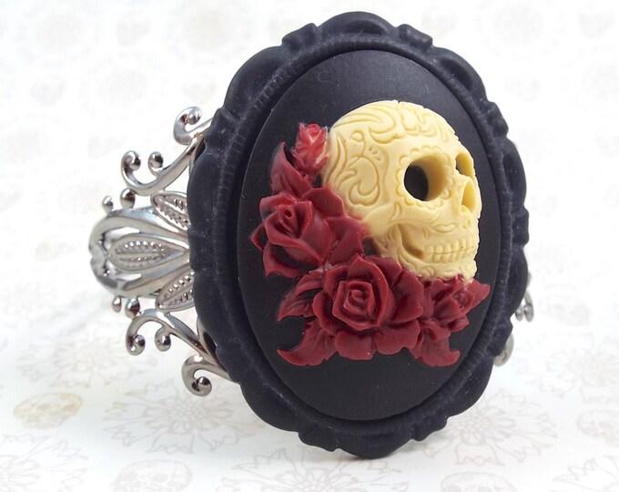 Black Oxblood Sugar Skull Cameo Cuff Bracelet - Dia de los Muertos