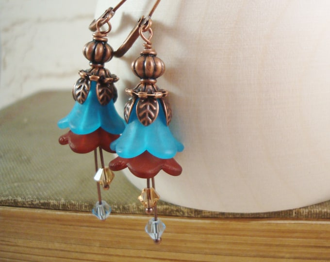 Aqua Blue Brown Copper Tulip Flower Earrings - Secret Garden