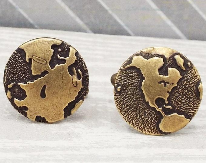 Oxidized Bronze Globe Hemisphere Cufflinks