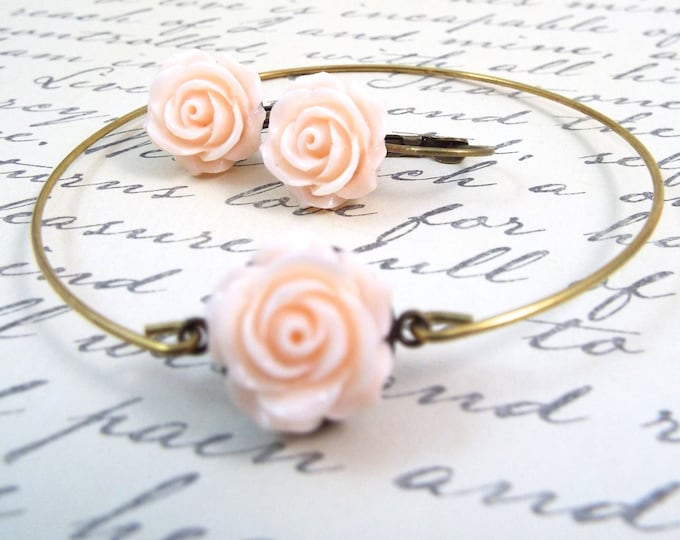 Peach Champagne Bridesmaids Jewelry Set - Earrings Stackable Bangle Bracelet - Inspirational Gift, She Persisted
