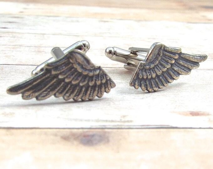 Antique Silver Wing Cufflinks - Mercury - Men's Accessories by Split Personality