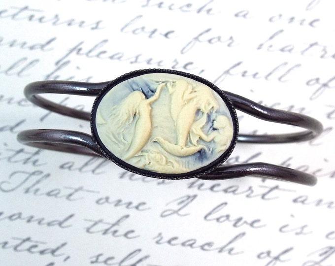 Black Vintage Cameo Mermaid Bracelet - A Siren's Song -  Brushed Antiqued Silver Hinged Bangle