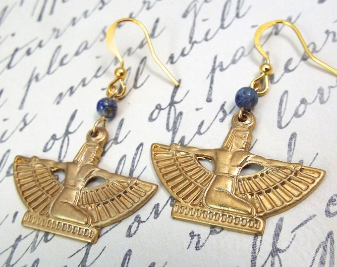 Gold Isis Lapis Drop Earrings - Goddess Jewelry