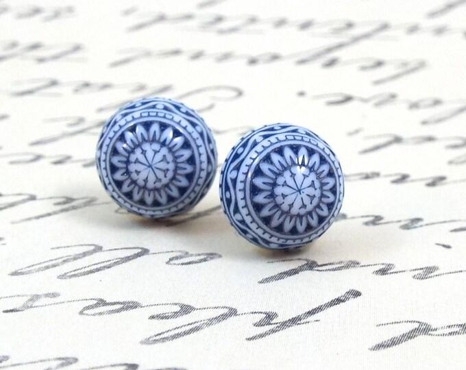 Green Blue Tribal Stud Earrings - Geometric Medallion Post Earrings