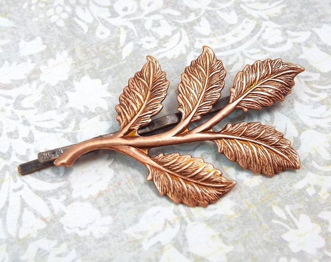 Rose Gold Branch Leaves Bobby Pin