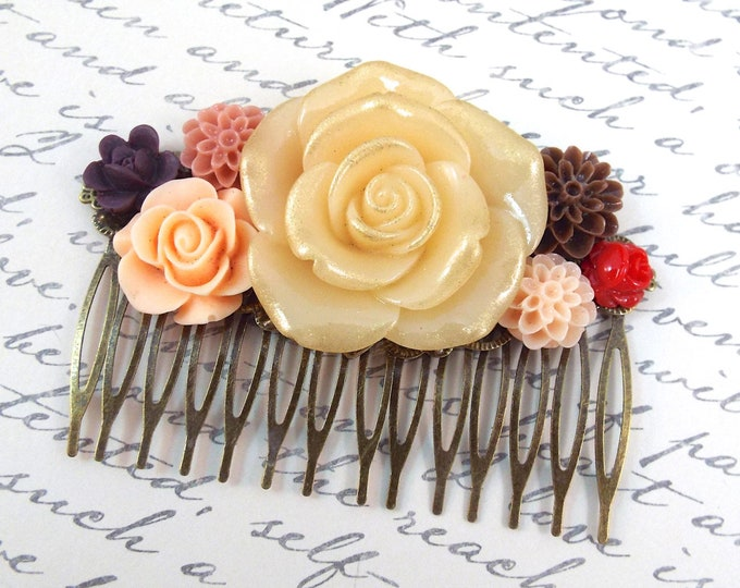 Autumn Mums Roses Floral Large Hair Comb - Vintage Hair Accessory - Fall Wedding Back To School Thanksgiving Gift