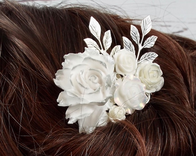 Pure White Peony, Rose, Silver Floral Branch Bridal Spray Comb - Gilded Bride Wedding Hair Piece, Modern Vintage Accessories