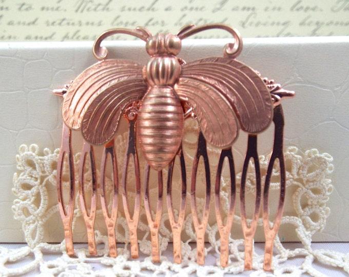 Bee Rose Gold Filigree Design Vintage Blush Wedding Hair Comb - Split Personality Designs