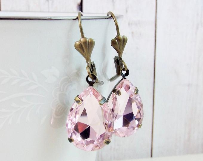 Antique Blush Rose Teardrop Crystal Drop Dangle Earrings