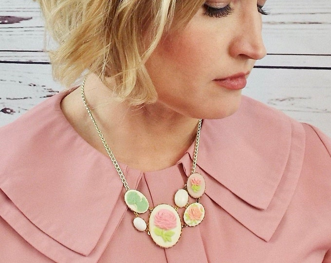 Asymmetric Rose Cameo Necklace- Mint Pink White