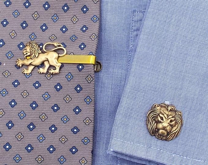 Antiqued Bronze Lion Tie Bar Clip Cuff Links Set