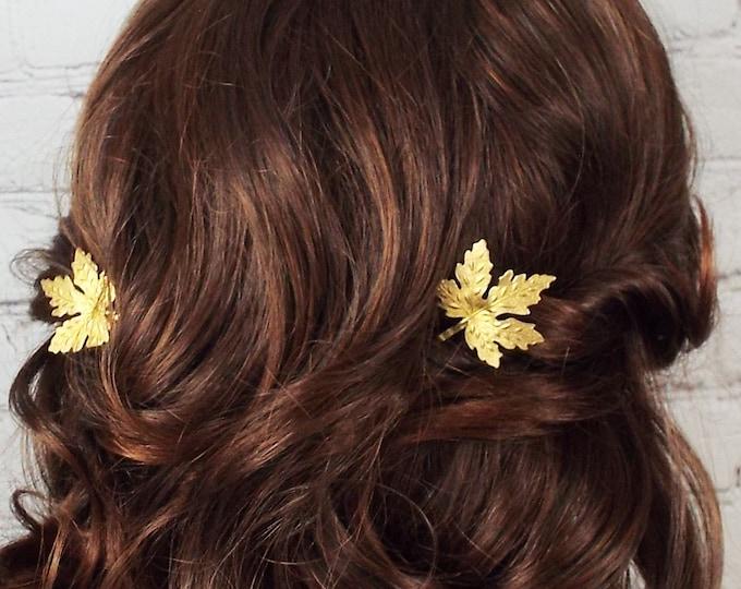 Raw Brass Maple Tree Leaves Gold Brass Hair Bobby Pin Set