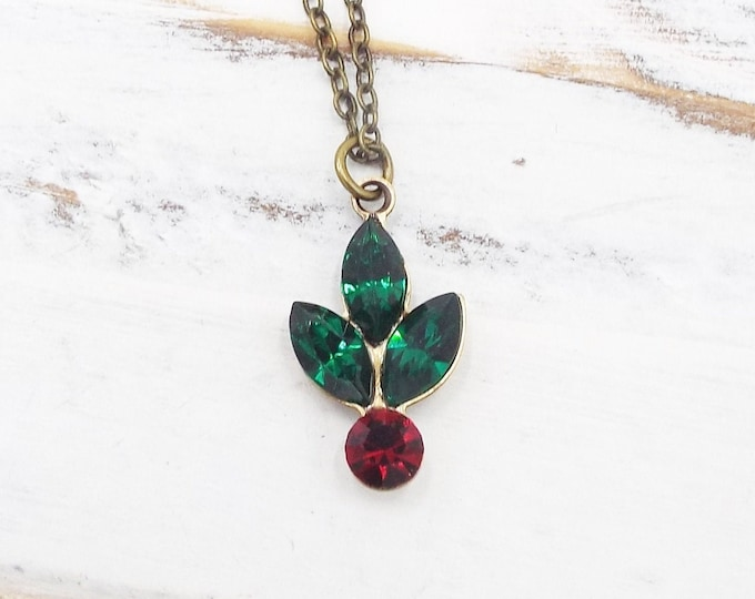 Dainty Holly Berry Sprig Christmas Pendant Necklace