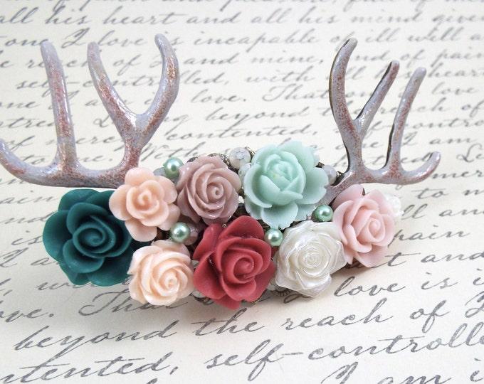 Deer Antler Barrette Clip Fascinator - Mint Pink - Woodland Goddess - Déesse Cerfs