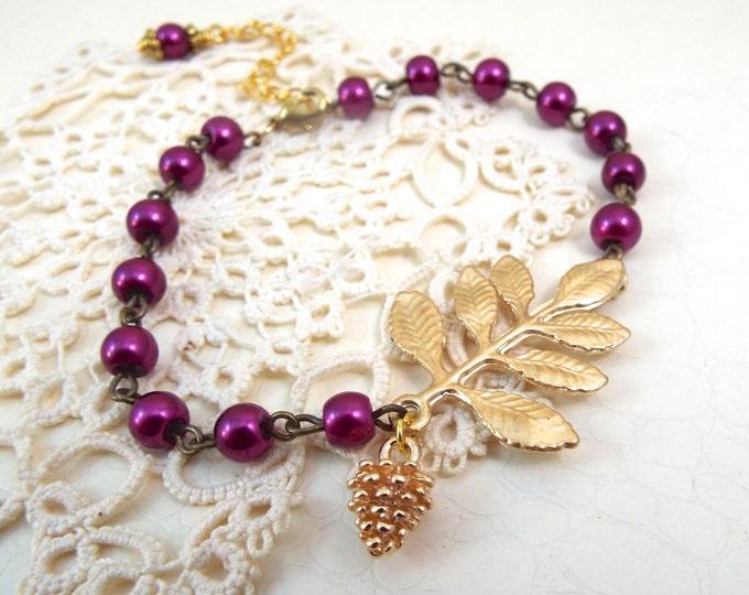 Wine Pearl Branch Beaded Bracelet - Vintage Art Nouveau Jewelry