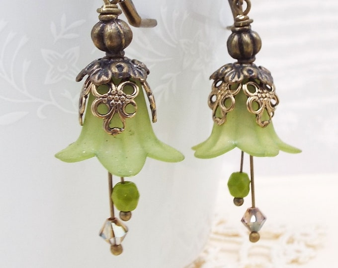 Rustic Antique Olive Grape Bronze Brown Bridal Floral Earrings